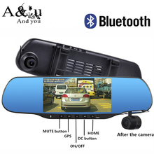 "5.0"" Touch Android Rearview mirror Car DVR Bluetooth WiFi FM FHD 1080P dash camera parking video recorder Navitel or Europe map(China (Mainland))"