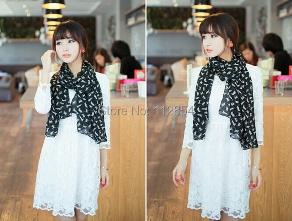 Free Shipping+Wholesale Chiffon Scarf for Women Lady printed Cat Scarf Neck Wrap Scarves,50pcs/lot(China (Mainland))