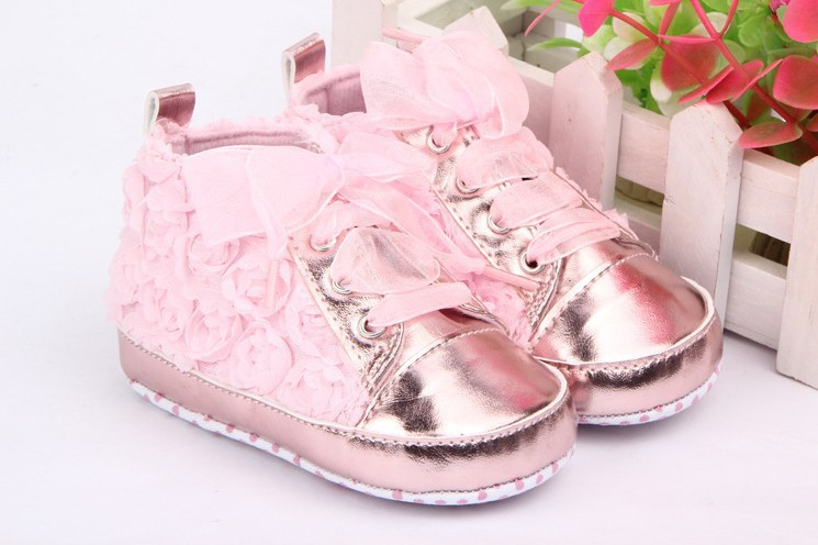 Baby Girl Shoes Toddler First walkers Shoes 3 Colors Sapato Infantil Kids Rose Flower Soft Sole Shoes Freeshipping