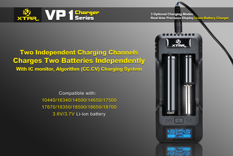 Xtar VP1 2 Slots LCD Smart Intelligent Universal Battery Charger + Car Charger EU Plug AC 12V 1000mA for 18640 LD547(China (Mainland))