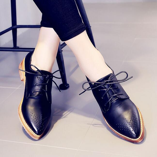 2016New Spring Retro Brogue Women's Shoes Handmade Genuine Leather Oxfords Woman Fashion Pointed Toe Dress - China Resources Store store