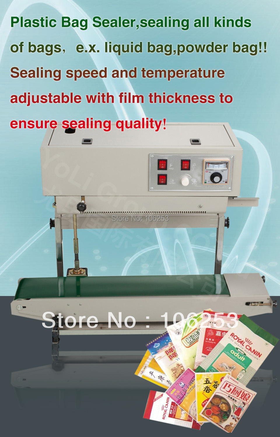 continuous sealer machine, automatic packing sealing machine With slide wheel,stripe wheel, date wheel, 12 months guarantee(Hong Kong)