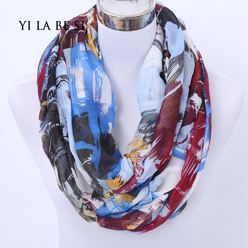 multicolour Infinity scarves freedom Style New Ink Graffiti Print Ring scarves fashion scarfs for woman(China (Mainland))