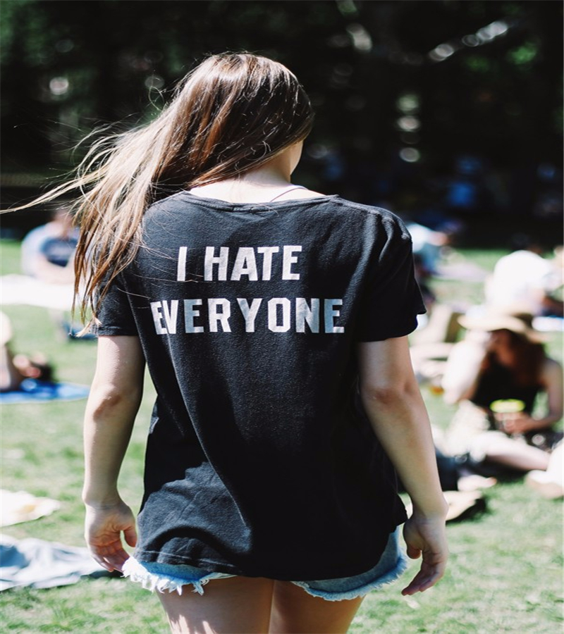 I HATE EVERYONE graphic letter t shirt Women Sexy tops hip hop Streetwear tshirt Casual tees Plus Size t-shirt T-F10081