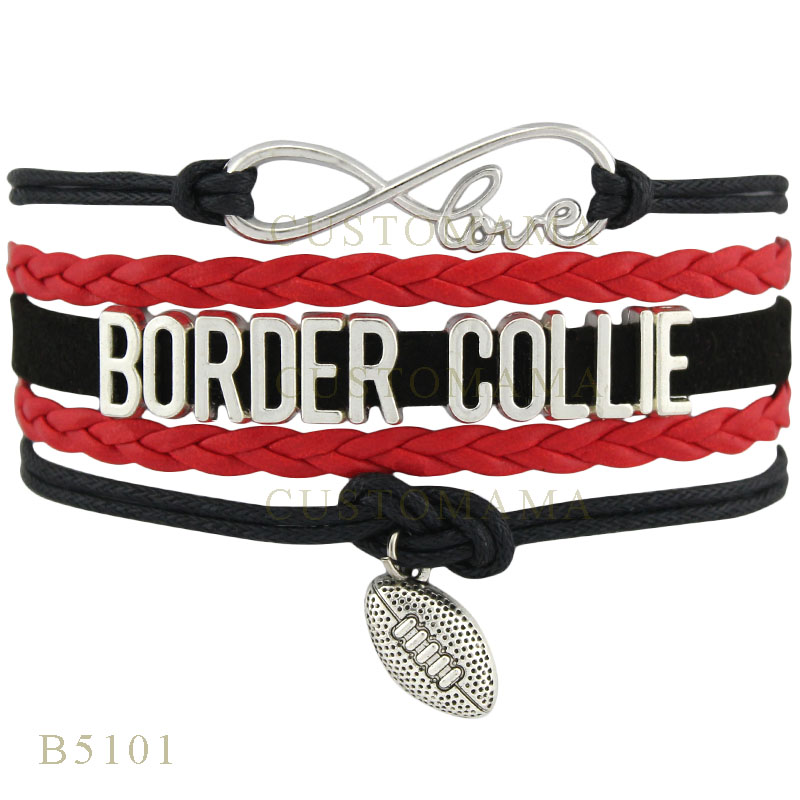 (10 PCS/Lot)Infinity Love Border Collie Football Charms Bracelets For Women Men Jewelry Gifts Black Red Leather Wrap Bracelets(China (Mainland))
