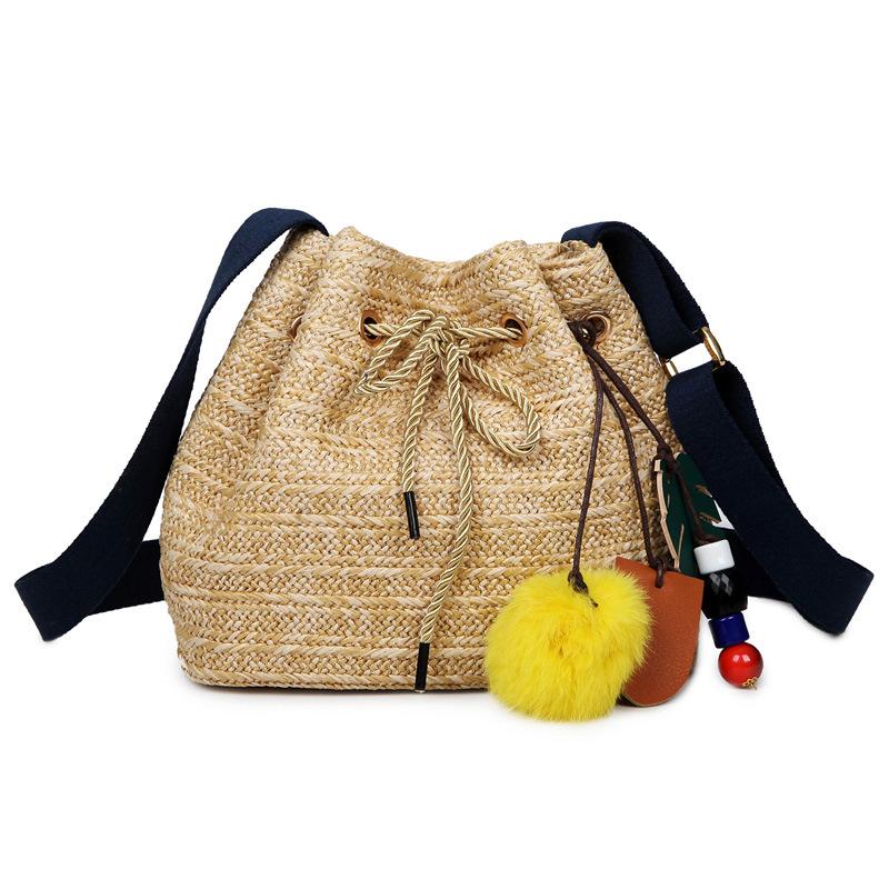 New 2016 Women Messenger Bags Boho Bucket Bag Small Girls Shoulder Bag Summer Straw Beach Handbag Lady Bolsa Crossbody Bag(China (Mainland))