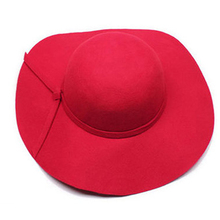 Fashion kids wide brim fedora hat Children  Bowler vintage Chapeu Sombrero felt Hats Girls black red winter wool floppy gorras(China (Mainland))