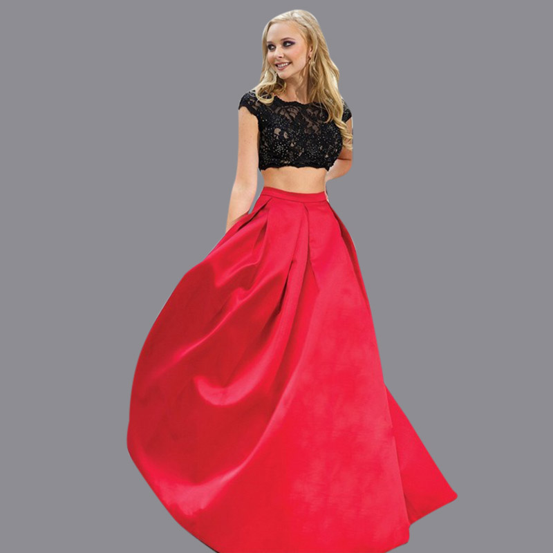 2016 new style hot new discount gorgeous sexy backless two piece set balck and red prom dresses PG029(China (Mainland))
