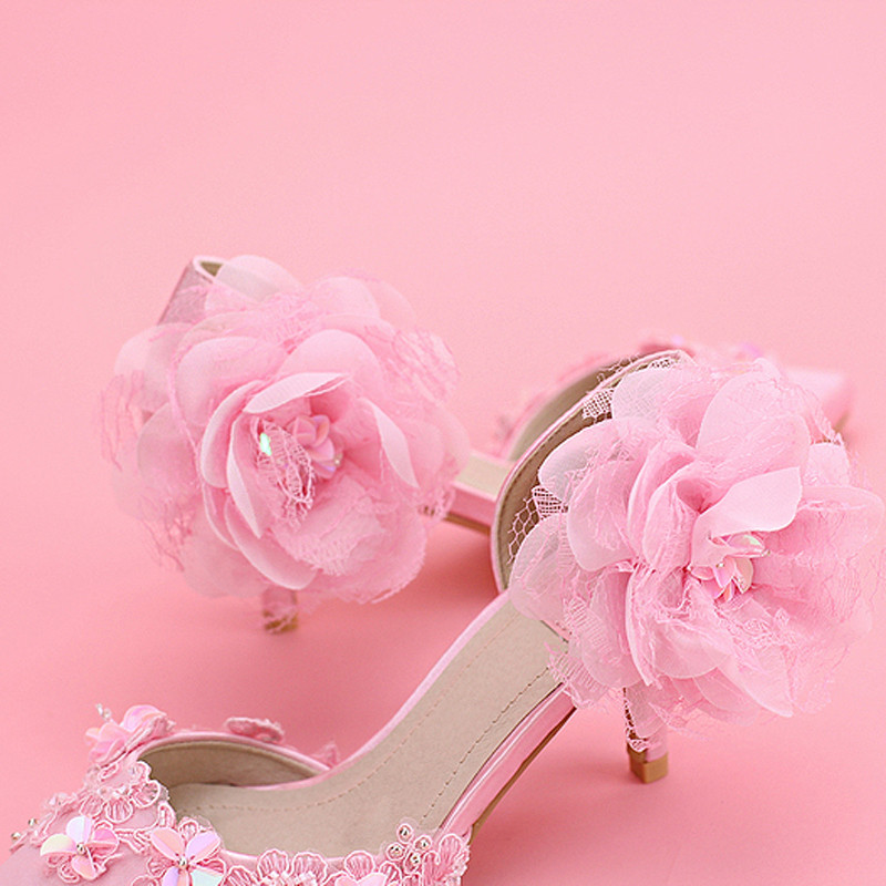 Brand New Ladies Pink Satin Wedding Shoes Pointed Toe Fashionable Party Shoes Elegant Women Pumps Heels Appliques Princess Shoes