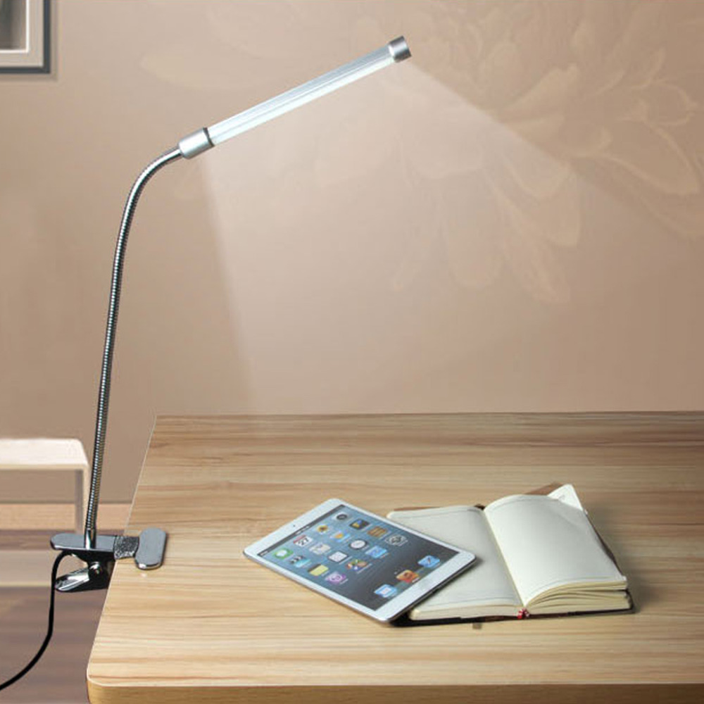 Flexible USB Clipper Clip on Adjustable Multi-angles LED Lamp Eye Protection Reading Light Desk Table Lamp Silver(China (Mainland))