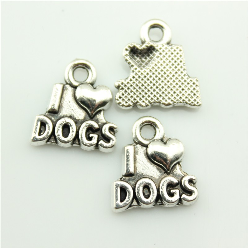 2014 New Fashion Hot Sale 50pcs antique silver I love dags charms antique silver tone antique silver Dog Pendant B10699.jpg(China (Mainland))