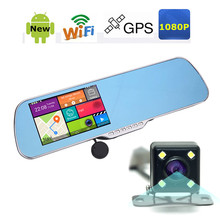2015 New 5.0 inch Car DVR GPS Wifi Car Mirror Camera Android Full HD 1080P Dual Lens Car Camera Rearview Mirror Video Recorder