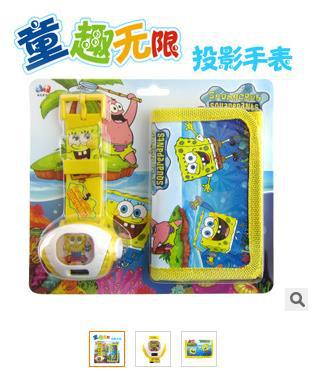 2015 Rubber New Arrival Watches Watch Activities Gift Children Cartoon Electronic Table Spongebob Wallets Projection Assortments(China (Mainland))