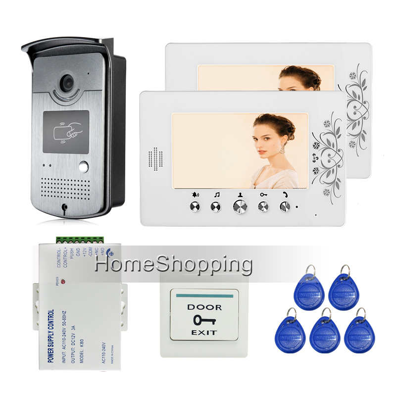 "New Wired 7"" Color Video Door Phone Intercom System + 2 White Monitor + RFID Access Camera + Power Supply Control FREE SHIPPING(China (Mainland))"