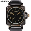 SINOBI Fashion Sports Men Wrist Watches Leather Watchband Top Luxury Brand Males Military Putin Quartz Clock