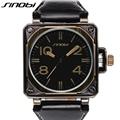 SINOBI Sports Men s Military Wrist Watches Leather Watchband Strong Man Geneva Quartz Clock 2017 Geneva
