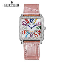Reef Tiger/RT Stylish Quartz Watches for Women Stainless Steel Watch with Diamonds Arabic Numeral Watches RGA173