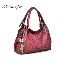 Buy iCeinnight Women elegant bags 2016 luxury pu leather bags handbag hollow messenger bag diamond pendant red shoulder ladies for $22.79 in AliExpress store