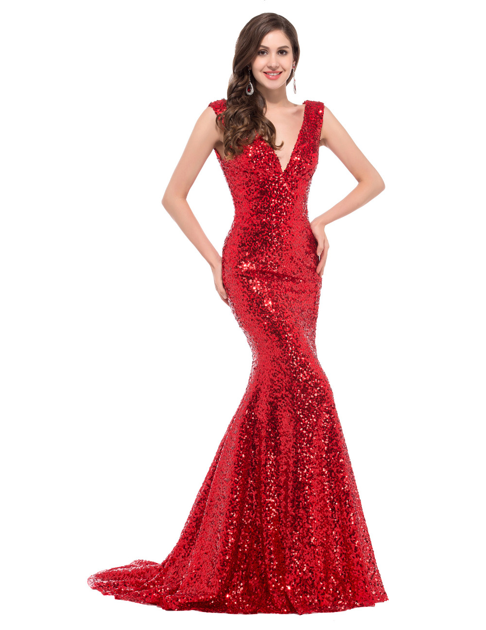 buy cheap long red sequin evening dresses 2016 robe de soiree longue vestido de. Black Bedroom Furniture Sets. Home Design Ideas