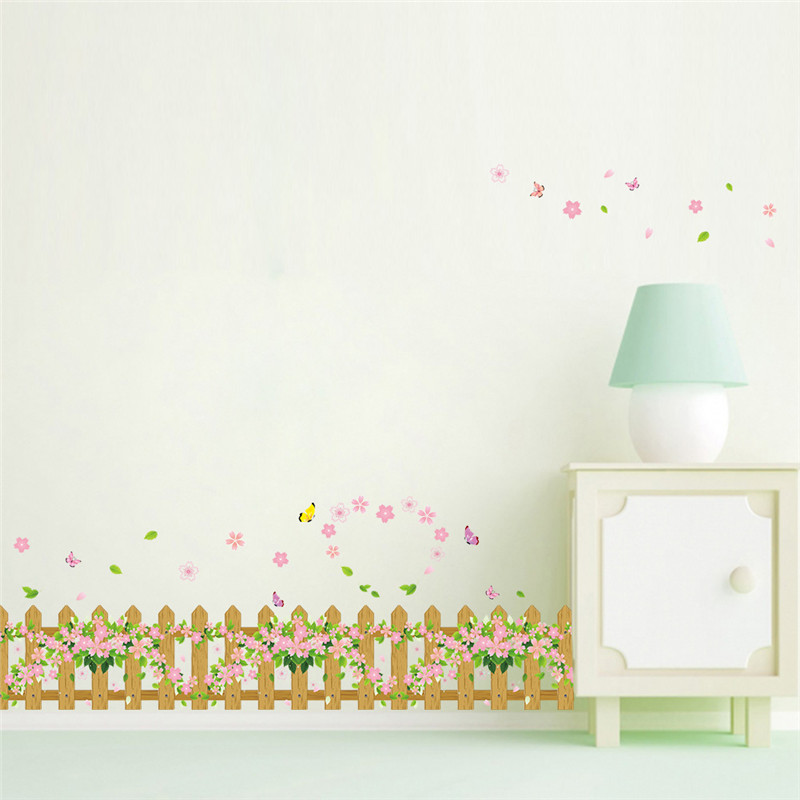 Romantic Garden Fence Flower Butterfly wall Stickers DIY Wall Decal Window Home decor Decoration kids children room decor(China (Mainland))