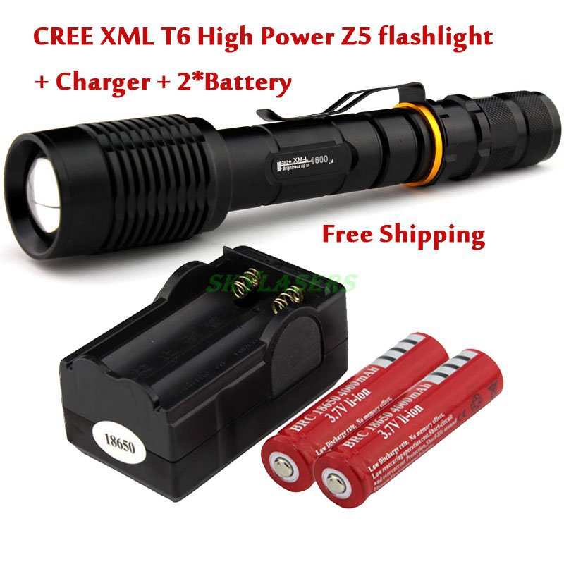 Z5 1600 Lumen CREE XML XM-L T6 LED Zoom Focus Adjust Flashlight Torch +2*18650 Battery+Charger(China (Mainland))