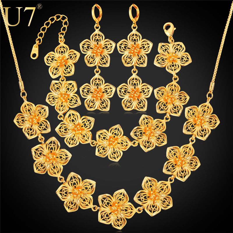 18K Gold Plated Big Flower Jewelry Set For Women Wedding Accessories 2015 New Trendy Wedding Jewelry Sets For Brides S688