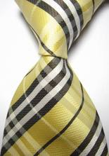 NT0429 Yellow Black Plaid Man s Smooth Jacquard Woven Silk Polyester Fashion Tie Classic Business Party
