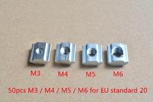 50pcs T sliding nut block M3 or M4 or M5 or M6 slide t nut for 20 series aluminum profile slot 6 mm cnc part(China (Mainland))