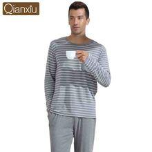 Qianxiu Casual Pajamas Classic Stripe Sleepwear Plus size O-neck Underwear Suit Male Pyjamas(China (Mainland))