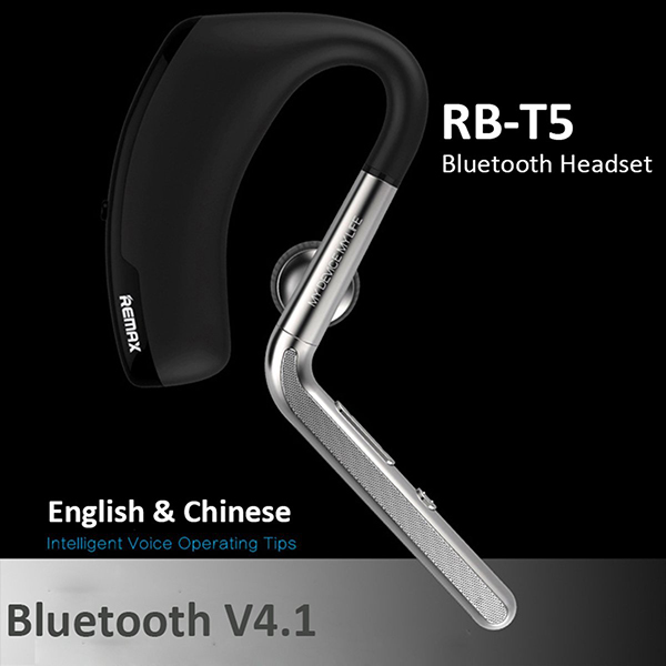 Remax RB-T5 Metal Noise Canceling Design Wireless Earphone HD Sound In-ear Bluetooth 4.1 Ear Hook Headset for iPhone Android