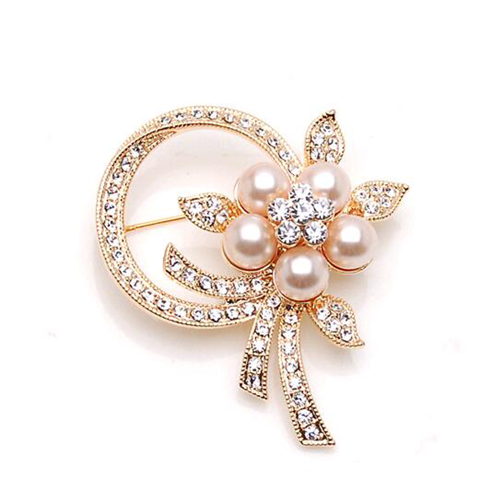 2016 New Hot Korean version popular trade pearl flower corsage brooch scarf buckle collar pin badge - Yiwu Alan Technology Co., Ltd. store