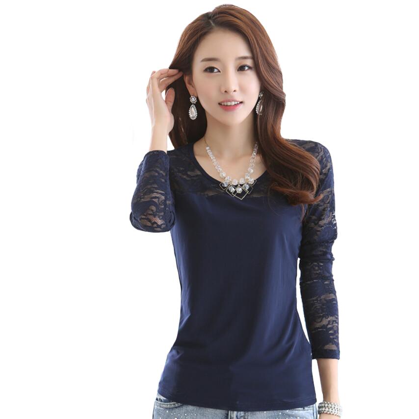 buy t shirt women t shirt long sleeve lace chiffon basic tshirt poleras de. Black Bedroom Furniture Sets. Home Design Ideas