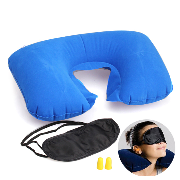 3 in1 Travel Set Inflatable Neck Cushion Pillow + Eye Patch + Earplug Comfortable Travel Accessories New BHU2(China (Mainland))