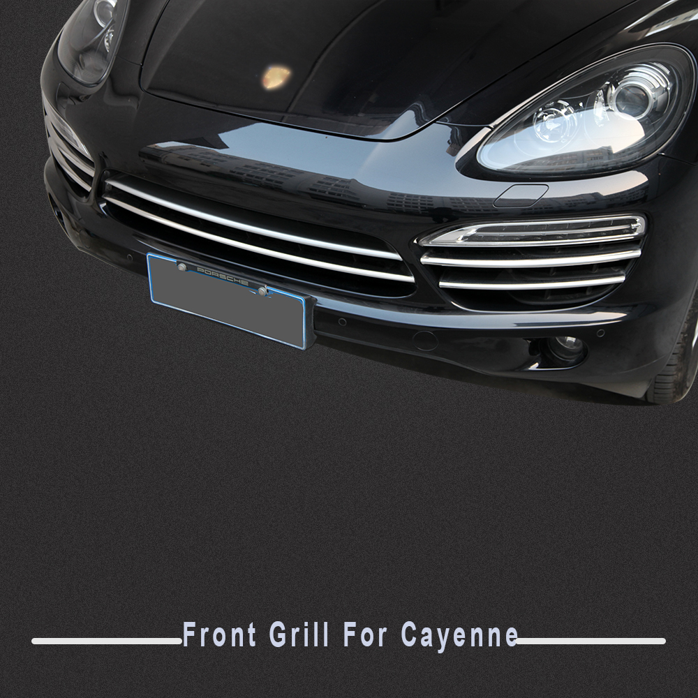 High quality stainless steel front center grill cover trim for 2011 2012 2013 2014 porsche cayenne
