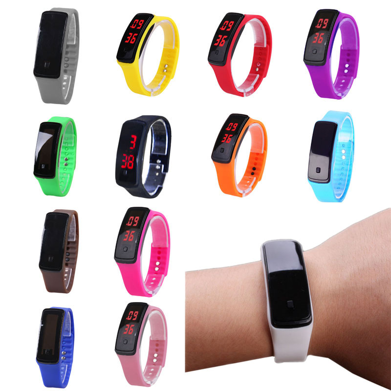 Hot Fashion Sport LED Women Watches Silicone Rubber Touch Screen Digital Watches Waterproof Bracelet Wrist Watch Candy Color