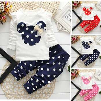 2016 new spring / summer baby suits dot long sleeve cotton baby clothes 3 color options, children suit jacket + pants 1-4 years