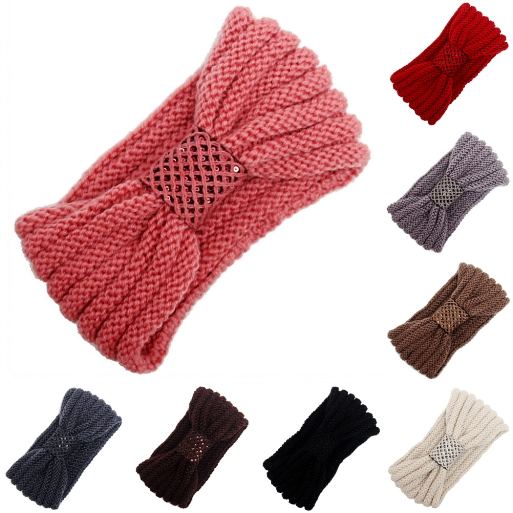 8 colors Women Lady Crochet Bow Knot Turban Knitted Head Wrap Hairband Winter Ear Warmer Headband Headwear Hair Band Accessories(China (Mainland))