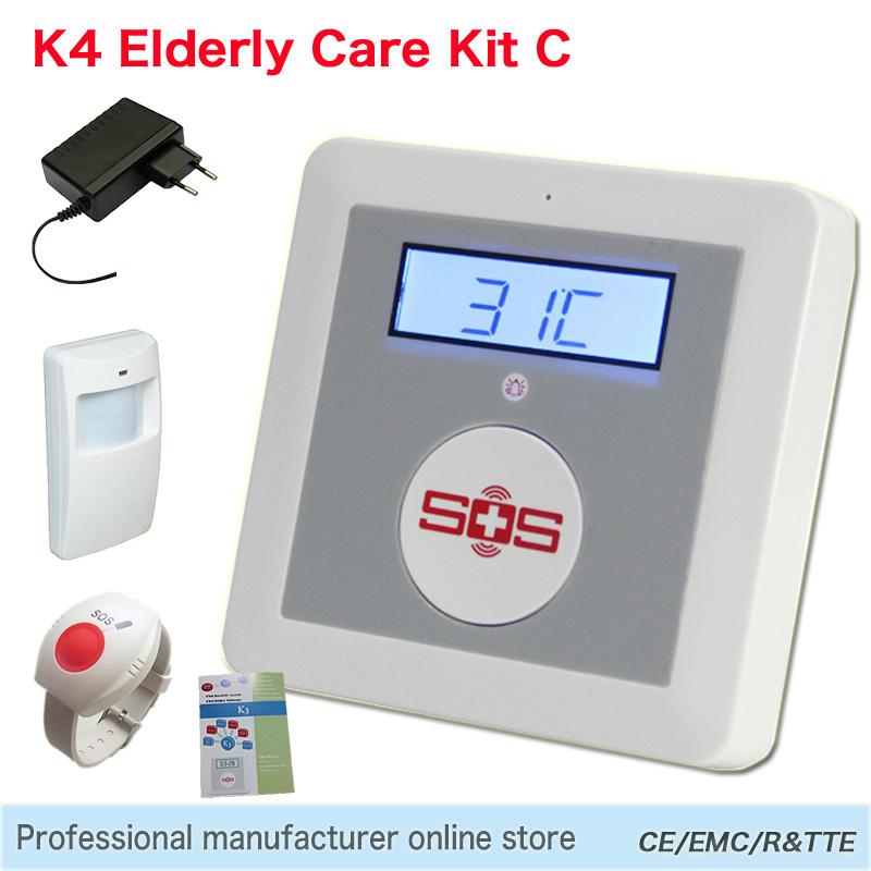 Quad-band GSM Elderly Care SMS SOS Call Home Nurse House Temperature Detector Elder Alarm with Falling & Motion Detector K4C(China (Mainland))