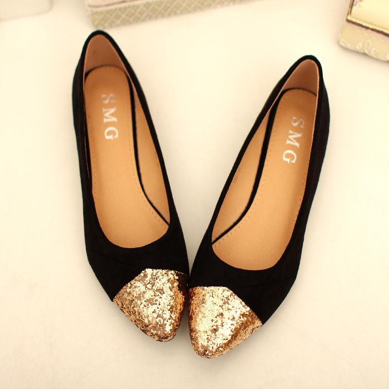 Sequins Mixed Colors Womens Flat Shoes 2015 New Arrival Suede Ballet Flats Women Gold Glitter Pointed Flat Shoes Casual(China (Mainland))