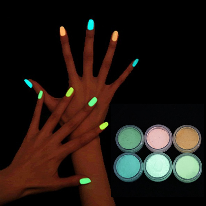 luminous nail polish High brightness luminous powder Phosphor fluorescent paint phototherapy general 10 color crystal armour GYH(China (Mainland))