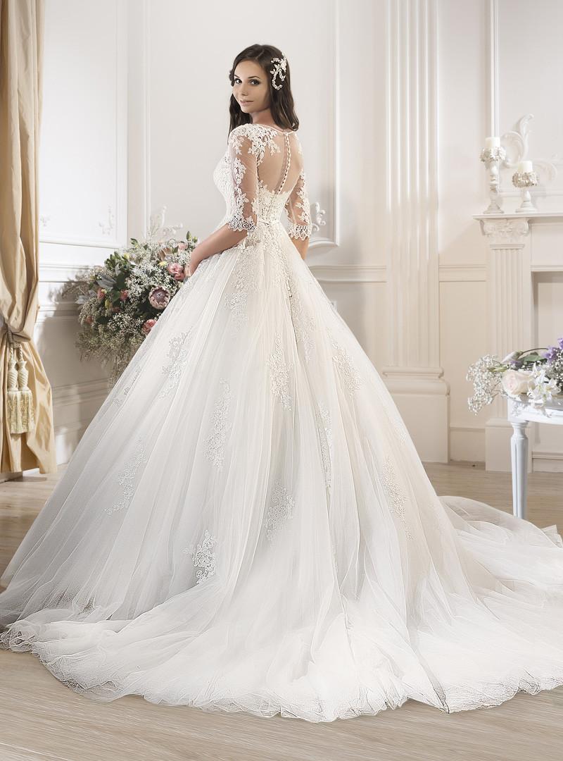 Свадебные платья Noiva 2016 кичливый белые чистой кружева иллюзия half-рукава пышные юбки бальное платье свадебные платья тюль