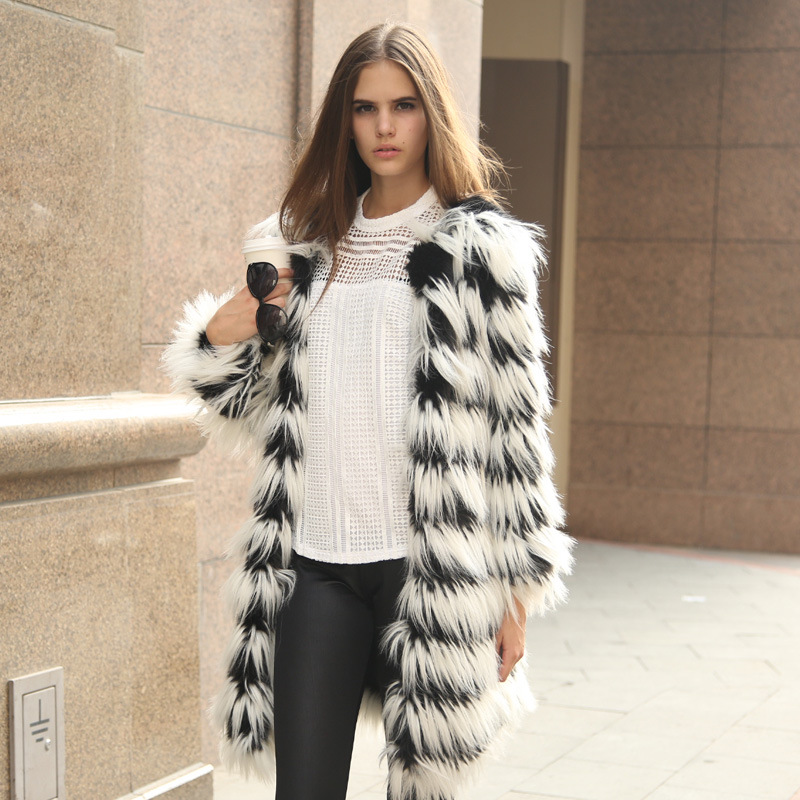 Ladies Long Faux Fur Coats