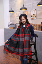 2015 za Scarf Women scarf Tartan scarves Tartan Plaid Scarf Beige Cozy Checked Blanket Oversized Wrap Shawl