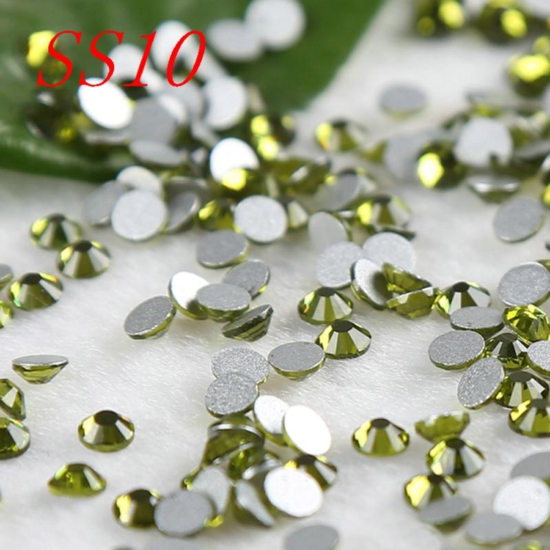 Shining SS10 2.7-2.8mm olivine 3d nail art rhinestones Non Hot Fix Rhinestones Mobile Phone Stick DIY Gifts accessaries(China (Mainland))