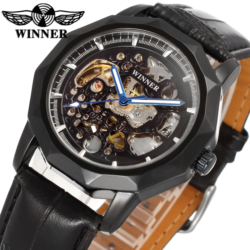 Classic Vintage WINNER Mechanical Mens Watches Blue Hand Design Carving Skeleton Automatic Wrist Watch Luxury Brand Male Clock(China (Mainland))