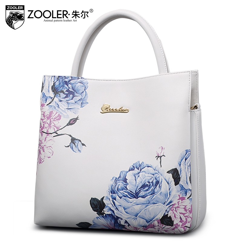 Фотография ZOOLER 2016 women split leather handbags fashion elegant flowers lady shoulder bag quality brand Messenger bags bolsa feminina