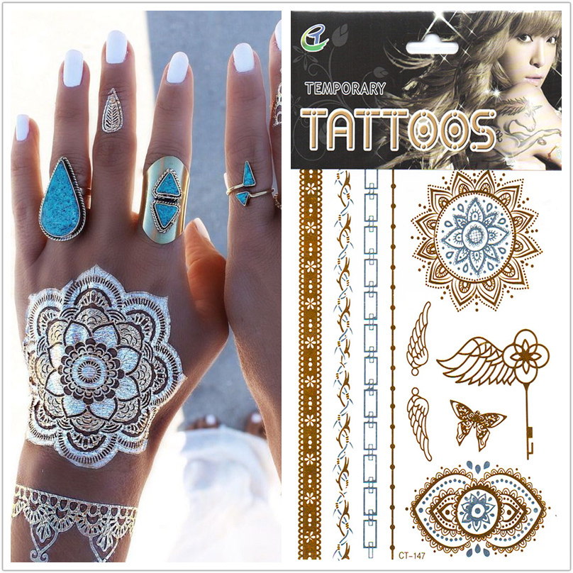 Popular Trendy 1pcs/lot Metallic Gold And Sliver Angel wings Fake Tattoo Waterproof Temporary Shimmer Tatoos Sticker On Body(China (Mainland))