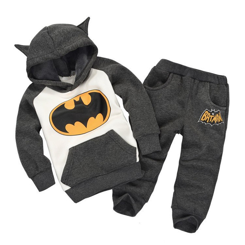 Boy Girls Winter Clothes Set Children's Clothing Suits Batman Kids Hoodies + Pants Children Sports Suit Baby Boys Clothes Set(China (Mainland))