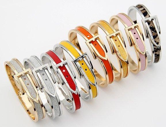 Party Gifts!65*58*10mm Fashion Adjustable Belt Buckle Bracelet Bangles Wholesale 2pcs/lot Gold Cuff Bracelets For Women