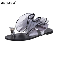 Buy Ladies Flats Sandals Bowtie Flip Flop Slipper Solid Color Flat Sandal Summer Shoe Women Party Beach Vacation Footwear Size 35-42 for $10.88 in AliExpress store